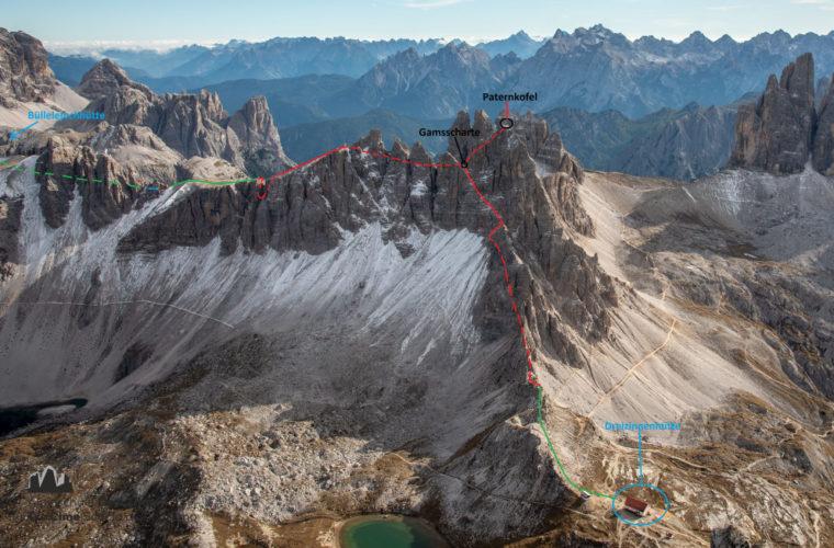 Topo Paternkofel Innerkofler - relazione Monte Paterno - Alpinschule Drei Zinnen Dolomiten