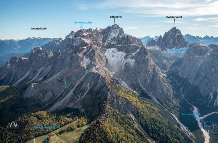 Topo Rotwandspitze - relazione Croda Rossa di Sesto - Alpinschule Drei Zinnen Dolomiten