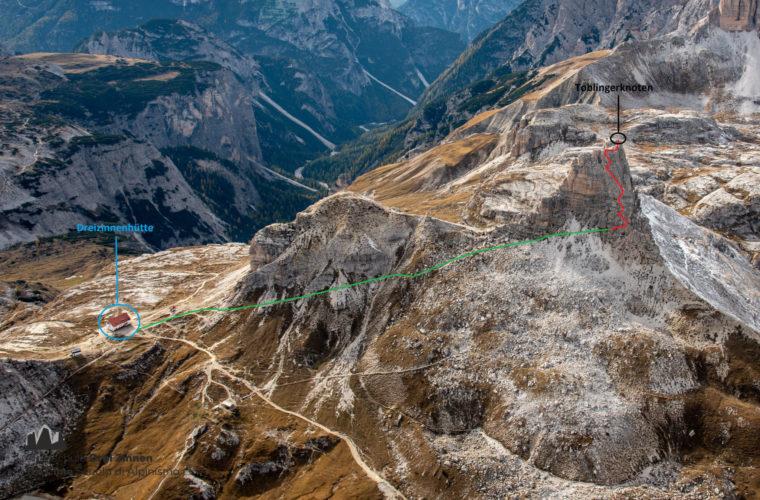 Topo Toblinger Knoten - relazione Torre di Toblin - Alpinschule Drei Zinnen Dolomiten