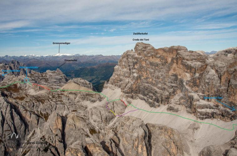 Topo Zwölferkofel - relazione Croda dei Toni Severino Casara - Alpinschule Drei Zinnen Dolomiten (2)